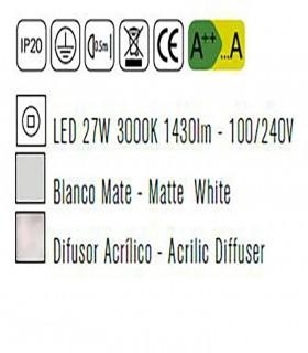 Plafón de techo LUNAS Led 27W  Blanco 5766 Mantra