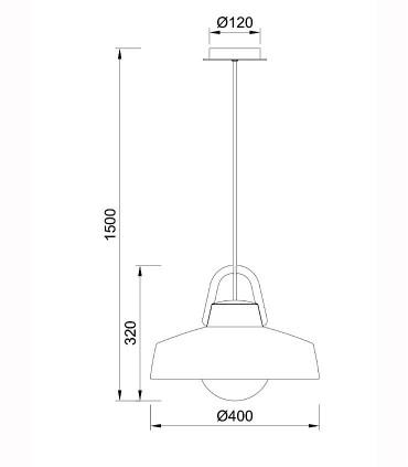 Lámpara colgante Kinke 40cm Gris Antracita Mantra, 6212, dimensiones