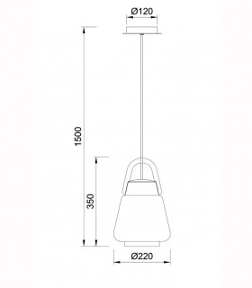 Lámpara Colgante Kinke 22cm Gris Antracita Mantra,6210, dimensiones