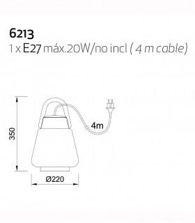 Colgante-Sobremesa Kinke 22cm Gris Antracita Mantra con enchufe, 6213, dimensiones