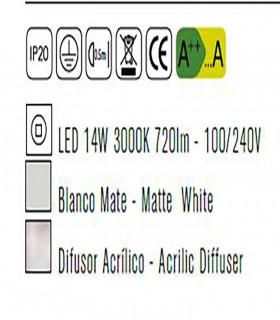 Plafón de techo LUNAS Led 14W Blanco Mantra