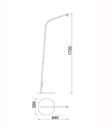 Peana para pie Kinké Gris antracita 172cm, 6215, dimensiones