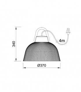 Lámpara colgante Kinke 37cm Gris Antracita Mantra con enchufe, 6276, dimensiones