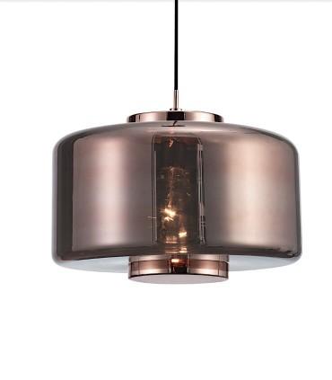 Lámpara colgante Jarras 40cm cobre de Mantra ref: 6190, detalle tulipa de vidrio soplado