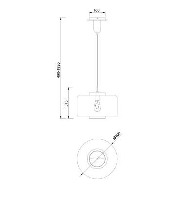 Lámpara colgante Jarras 40cm cromo-grafito de Mantra ref: 6191, dimensiones