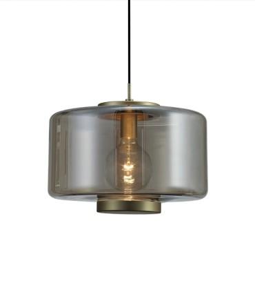 Lámpara colgante Jarras 40cm bronce de Mantra ref: 6192, detalle tulipa de vidrio soplado