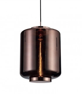 Lámpara colgante Jarras mediana 30cm cobre de Mantra, 6193, detalle de tulipa vidrio soplado.