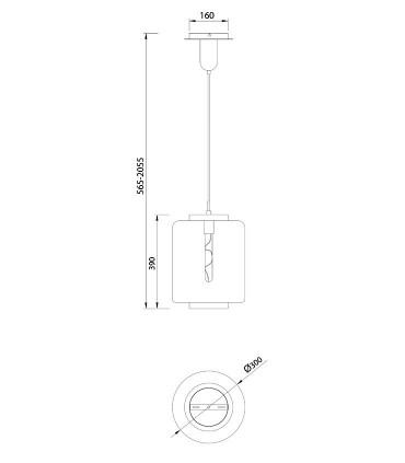 Lámpara colgante Jarras mediana 30cm cromo-grafito de Mantra, 6194, dimensiones