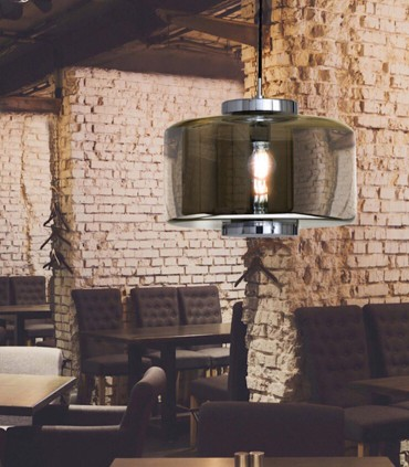 Lámpara colgante Jarras 40cm cromo-grafito de Mantra ref: 6191, imagen de ambiente
