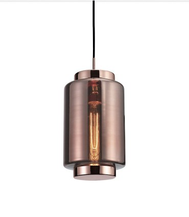 Lámpara colgante Jarras 17cm cobre de Mantra, 6199, detalle tulipa de vidrio soplado.