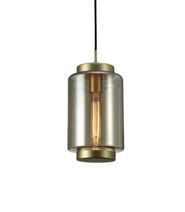 Lámpara colgante Jarras 17cm bronce  de Mantra, 6201, detalle de tulipa de vidrio soplado.