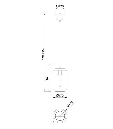 Lámpara colgante Jarras XS 17cm cromo-grafito de Mantra, 6200, dimensiones