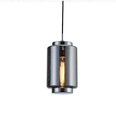 Lámpara colgante Jarras XS 17cm cromo-grafito de Mantra, 6200, detalle vidrio soplado.