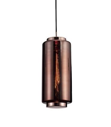 Lámpara colgante Jarras Pequeña 17cm cobre de Mantra, 6196, detalle tulipa de vidrio soplado.