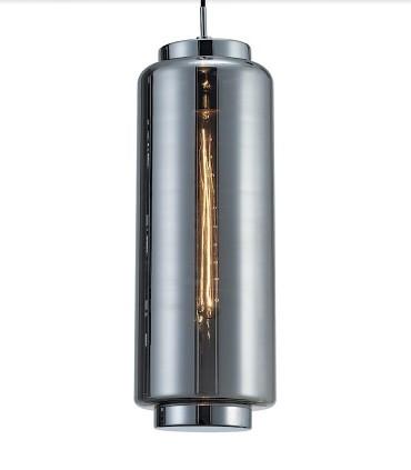 Lámpara colgante Jarras Pequeña 17cm cromo y grafito de Mantra, 6197, detalle vidrio soplado