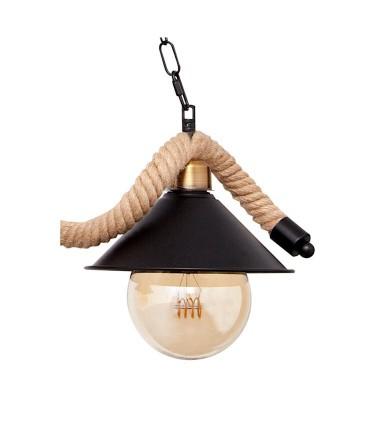 Lámpara cuerda 3 luces marrón, detalle tulipa.