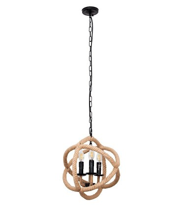 Lámpara colgante cuerdas y círculos 3L. E-14