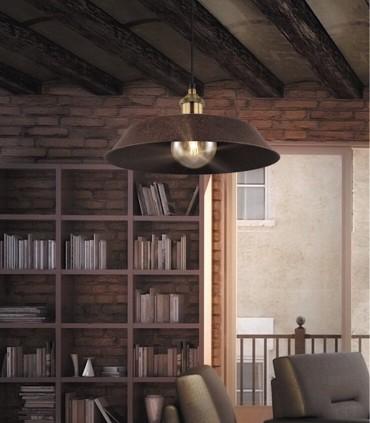 Colgante industrial rústico marrón cuero 33cm, imagen de ambiente.