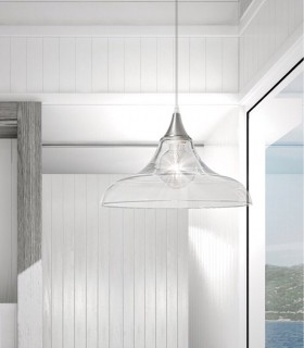 Lámpara de techo colgante campana cristal transparente 37cm. Imagen de ambiente.