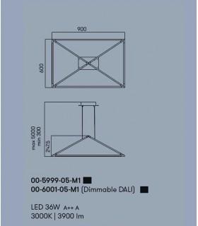 Lámpara Tubs 36w negro 00-5999-05-M1 Leds C4, dimensiones.