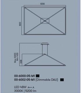 Lámpara Tubs 48w negro 00-6000-05-M1 Leds C4, dimensiones