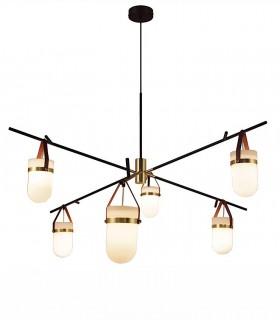 Lámpara de techo Almon 6 luces Negro mate