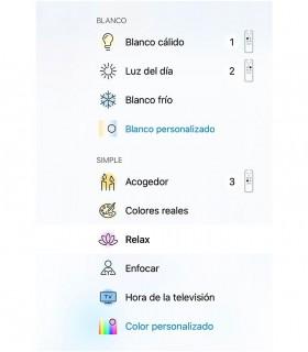 Escenas de luz preconfiguradas en la App WiZ de iluminación wifi inteligente.