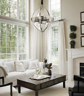 Lámpara Elegante tipo farol con pantallas interiores World cromo.