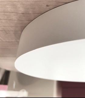 Plafón redondo sin marcos fino 24w 4000K 1920lm Ø19x2.7cm blanco. Vista lateral.