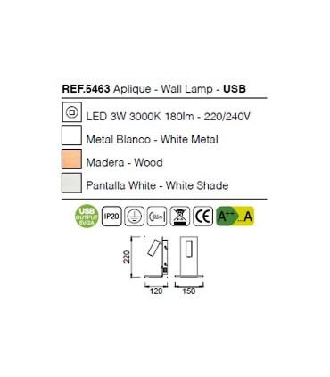 Aplique Nórdica II USB 5463 Mantra, dimensiones y características