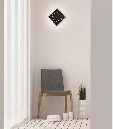 Imagen de ambiente Aplique Dakla cuadrado 12W Negro 6427 Mantra