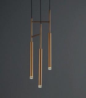 Colgante Candle Triplex 3 luces latón dorado Grok