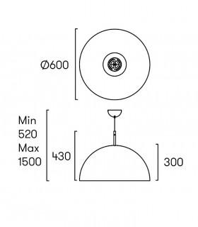 Lámpara Umbrella Ø60cm Negro-Oro Grok, dimensiones.