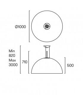 Lámpara Umbrella Ø100cm Negro-Oro Grok, dimensiones