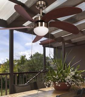 Ventilador con luz 5 aspas 107cm Cuero-Cerezo/Nogal