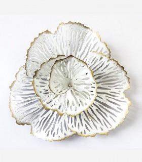Adorno decoración de pared metal flor blanco-oro 30x30cm