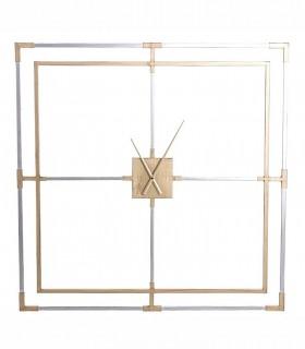 Reloj de pared Cuadrado metal 110cmX110cm oro-plata viejo