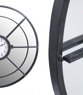 Reloj de pared con espejo y metal Gris oscuro  80cm