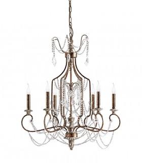 Lámpara clásica oro viejo y madera 6 luces