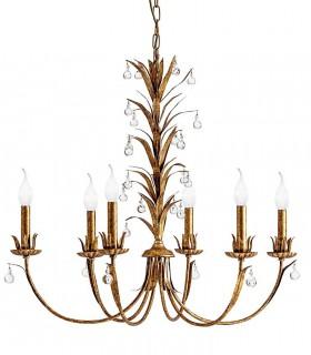 Lámpara clásica oro viejo 6 luces