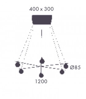 Medidas: Lámpara LAN 6 luces oro mate C1210/6