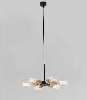 Lámpara HITO C1226 6 luces negro mate-oro