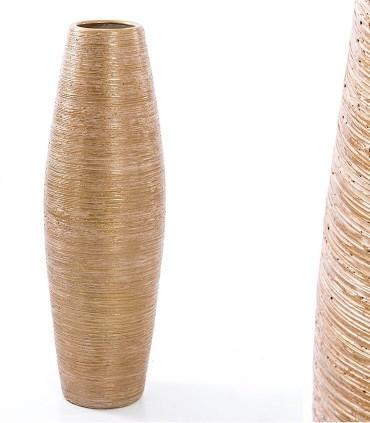 Jarrón de suelo alto 80cm dorado-blanco