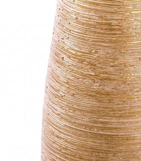 Detalle de acabado y color del jarrón de suelo alto 80cm dorado-blanco