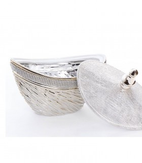 Caja Tibor de cerámica con cristales plata-oro