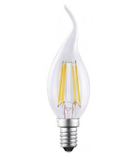 Bombilla Vela Led Decorativa Transparente Filamento 4W 400Lm E-14