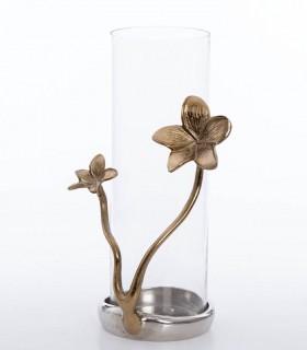 Jarrón florero portavela 36cm cristal-metal con flor dorada