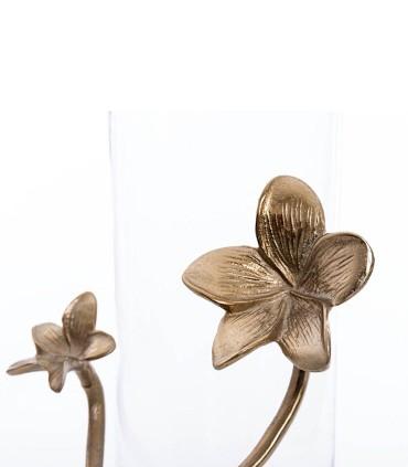 Detalle Jarrón florero portavela 36cm cristal-metal con flor dorada
