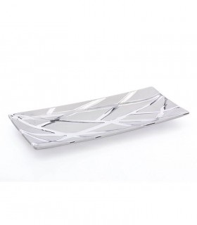 Centro de cerámica rectangular plata brillo-mate 39cm