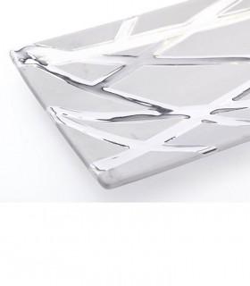 Detalle Centro de cerámica rectangular plata brillo-mate 39cm